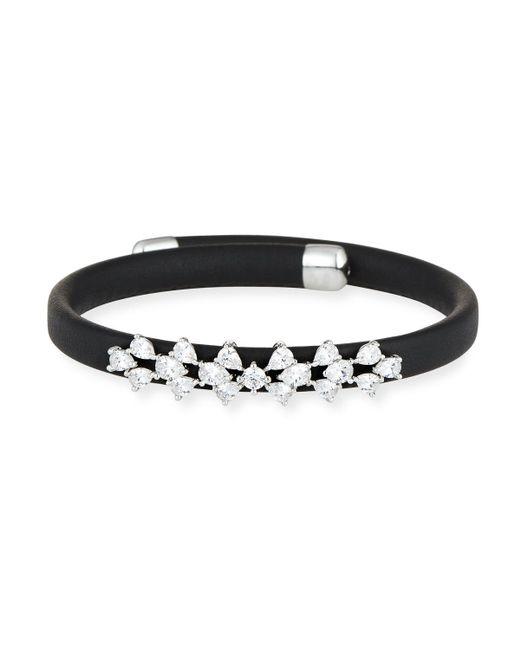 Fallon - Black Monarch Leather Snap Bracelet - Lyst