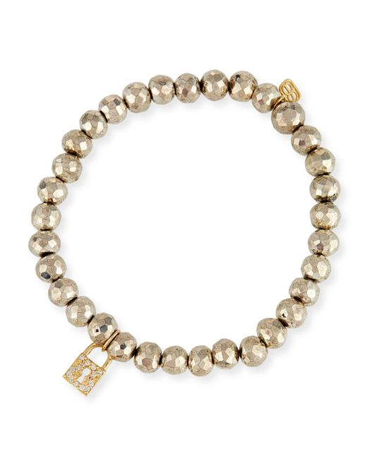 Sydney Evan - Metallic 6mm Beaded Pyrite Bracelet With Diamond Lock Charm - Lyst