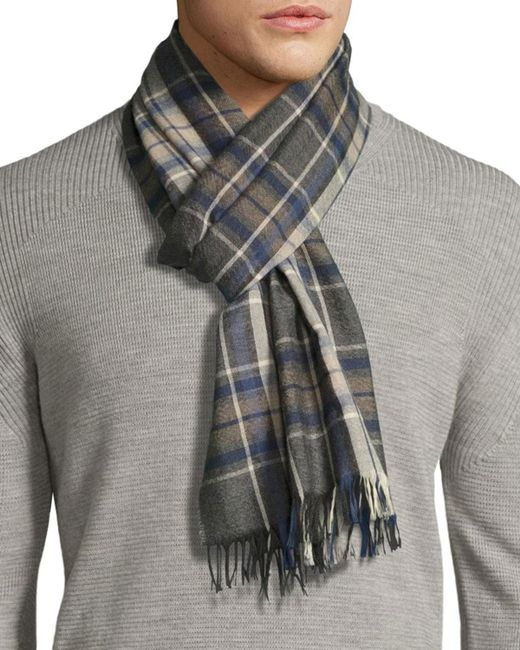 Begg & Co | Gray Tartan Plaid Cashmere Scarf With Fringe for Men | Lyst