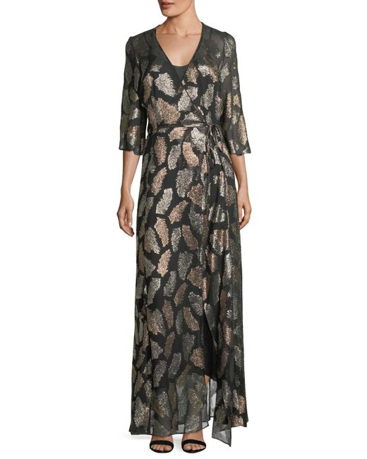 Forte Forte - Black Fil Coupe Desert Leaf Wrap Dress - Lyst