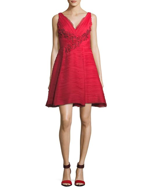 Marchesa notte - Red Sleeveless V-neck Crinkled Chiffon Cocktail Dress - Lyst