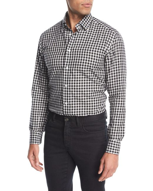 Brioni gingham check cotton shirt in black for men lyst for Gingham french cuff shirt