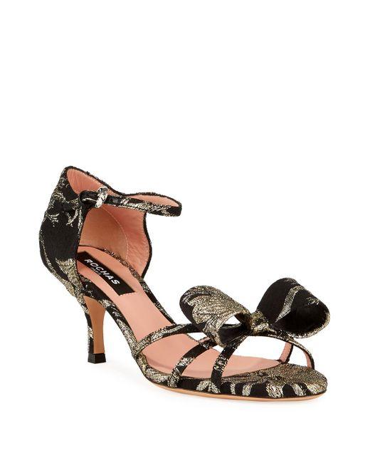Rochas Black Bow Jacquard Bow Sandals