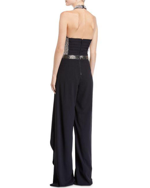 83c06b0357f9b ... Alice + Olivia - Black Latonya Embellished Bustier Ruffled Jumpsuit -  Lyst