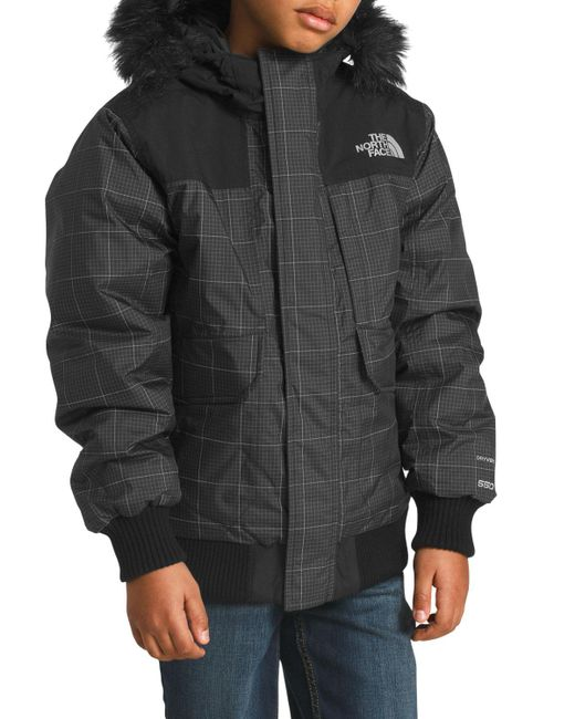 8a559d28d3 ... The North Face - Black Gotham Down Hooded Grid Jacket W  Faux-fur Trim  ...