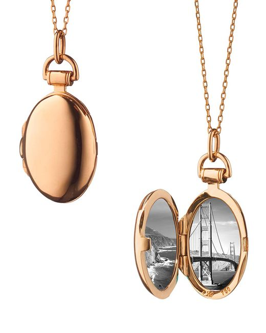 Monica Rich Kosann | Metallic Anna 18k Rose Gold Petite Locket Necklace | Lyst