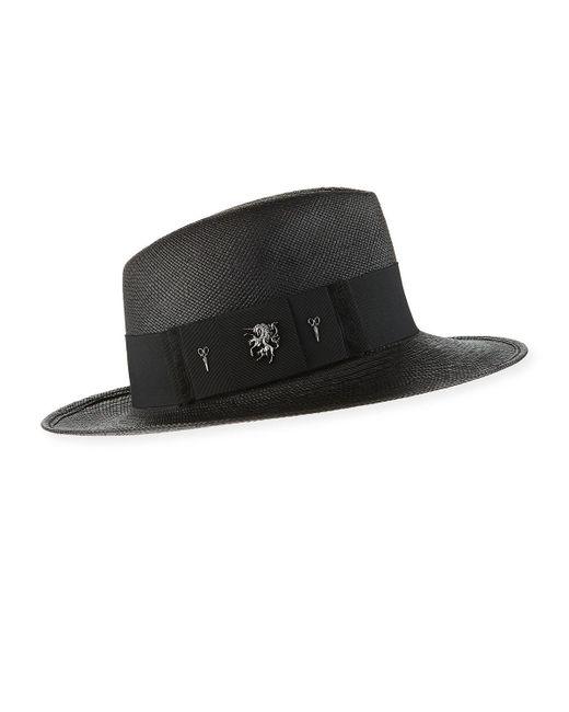 Philip Treacy - Black Raiders Straw Trilby Panama Hat - Lyst