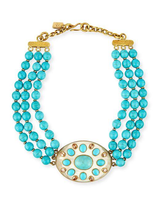 Ashley Pittman - Blue Bendi Turquoise & Light Horn Pendant Necklace - Lyst