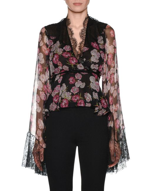 Giambattista Valli - Black V-neck Bell-sleeve Floral-print Silk Blouse W/ Wrap Belt & Lace Trim - Lyst