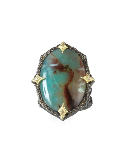 Armenta - Multicolor Old World Aquaprasetm Oval Cabochon Ring With Diamonds - Lyst