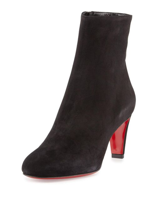 Christian Louboutin - Black Top 70 Suede Red Sole Ankle Boots - Lyst