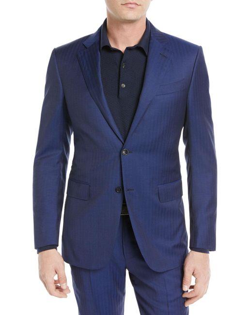 Ermenegildo Zegna Blue Herringbone Two-piece Wool Suit for men