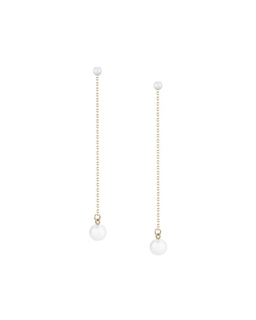 Mizuki   White Double-pearl Chain Drop Earrings   Lyst