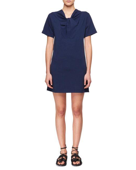 Carven - Blue Twist-neck Short-sleeve Cotton Jersey Dress - Lyst