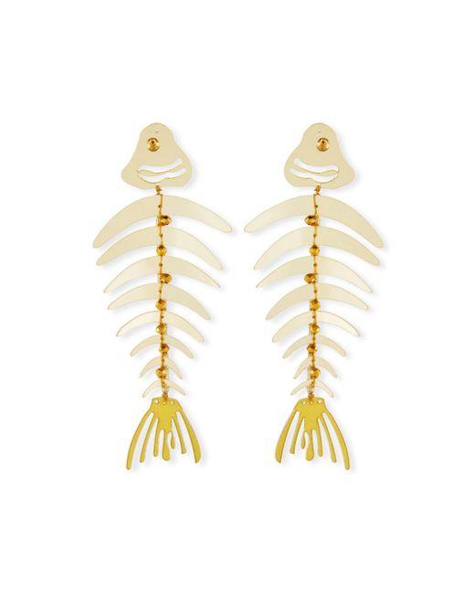 Oscar de la Renta - Metallic Bold Fishbone Statement Clip-on Earrings - Lyst