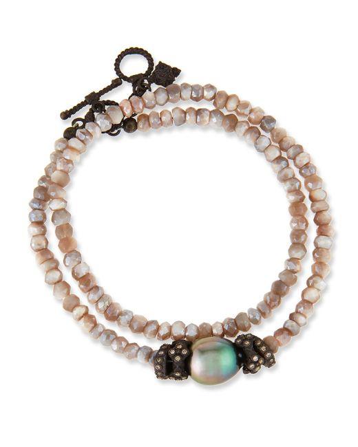Armenta | Metallic Old World Mystic Moonstone & Pearl Bracelet With Champagne Diamonds | Lyst
