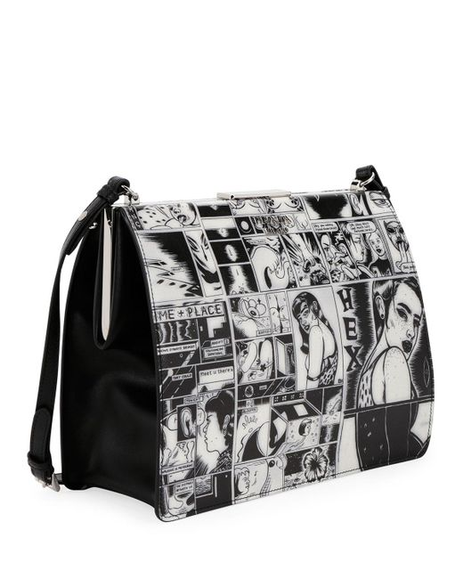 Prada Cartoon-Print Frame Shoulder Bag 8Nc31v