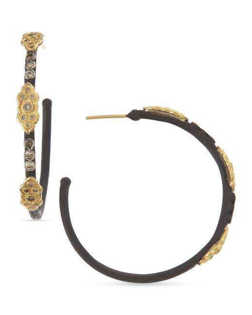 Armenta - Metallic 18k & Midnight Diamond Scrolls Hoop Earrings - Lyst