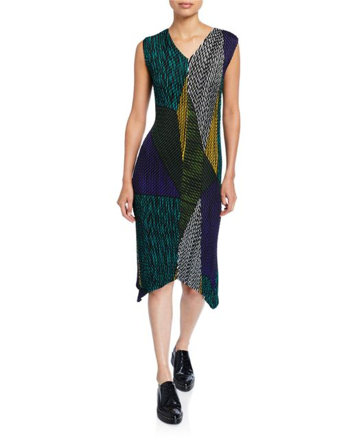 Issey Miyake Green Random Glow-pleated Dress