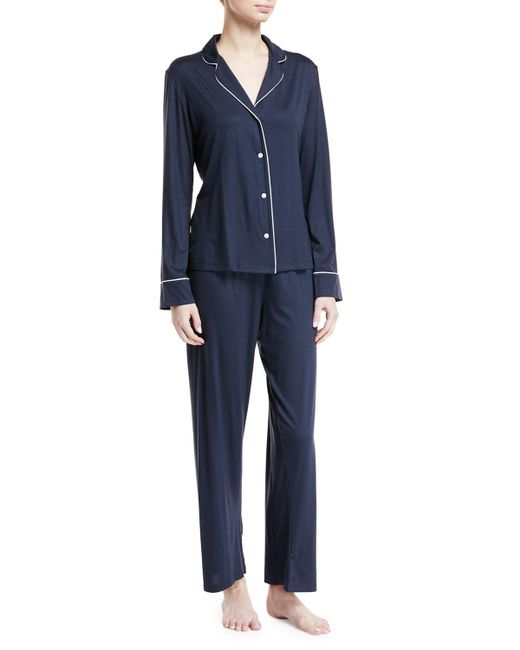 Derek Rose - Blue Carla Classic Piped Knit Pajama Set - Lyst