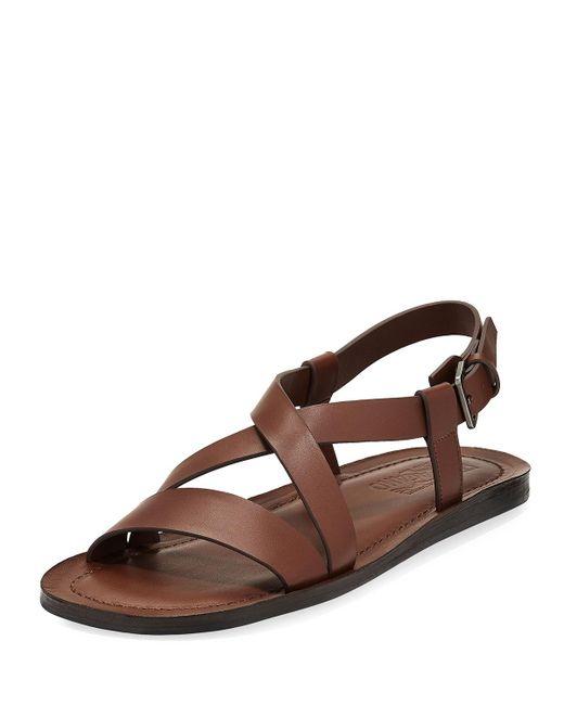 Ferragamo | Brown Nostro 2 Habana Leather Strap Sandal for Men | Lyst