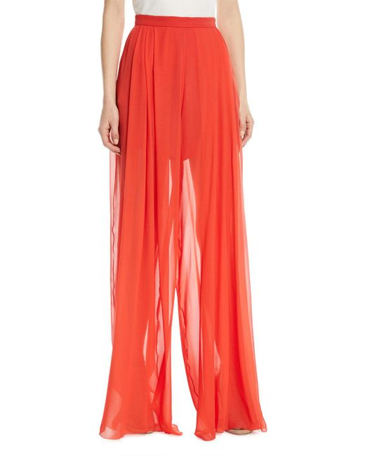 Delpozo - Red Sheer Silk Wide-leg Pants - Lyst