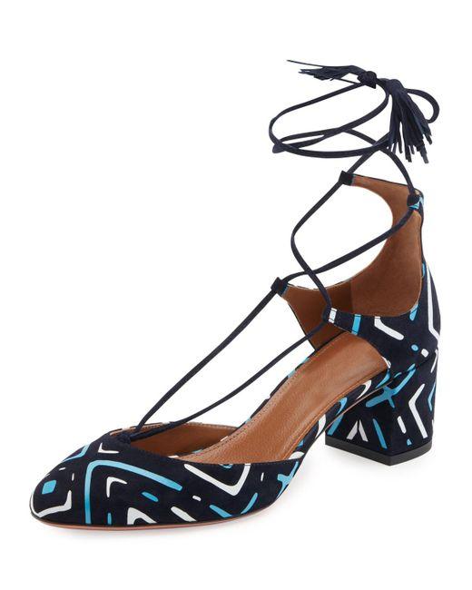 Aquazzura   Blue Boheme Printed Suede Block-heel Pump   Lyst
