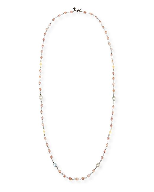 Armenta | Multicolor Old World Beaded Peach Moonstone Necklace With Diamonds | Lyst