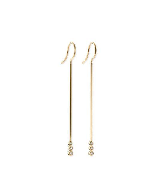 Mizuki - Metallic 14k Gold Three-diamond Bar Earrings - Lyst