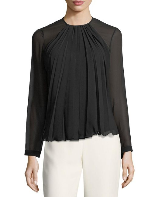 Giorgio Armani | Black Pleated Georgette Long-sleeve Top | Lyst