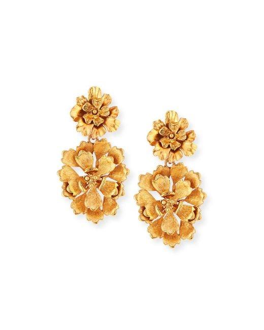 Oscar de la Renta - Metallic Blooming Bold Flower Drop Clip Earrings - Lyst