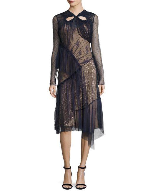 Jason Wu | Blue Long-sleeve Mixed-lace Dress | Lyst