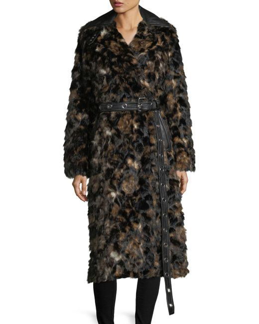 Helmut Lang   Brown Tortoise Faux-fur Shawl-collar Belted Coat W/ Faux-leather Trim   Lyst