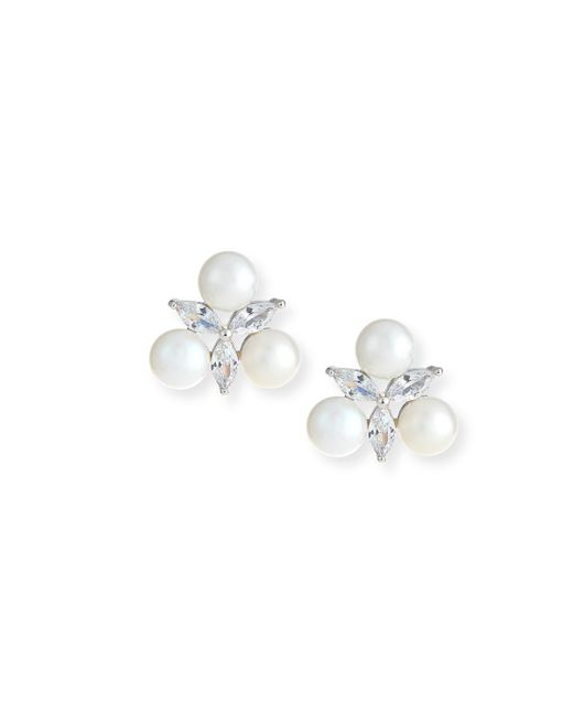Fallon - Metallic Monarch Pearly Starburst Crystal Earrings - Lyst