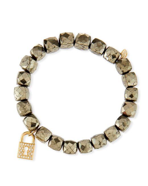 Sydney Evan - Metallic 14k Pyrite Beaded Stretch Bracelet W/ Lock Charm - Lyst