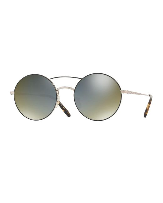 Oliver Peoples | Black Nickol Round Mirrored Sunglasses | Lyst