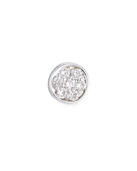 Sydney Evan - White Single Pavé Diamond Disc Stud Earring - Lyst