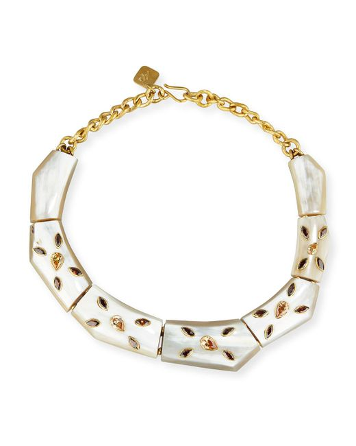 Ashley Pittman - Metallic Malkia Light Horn & Crystal Collar Necklace - Lyst