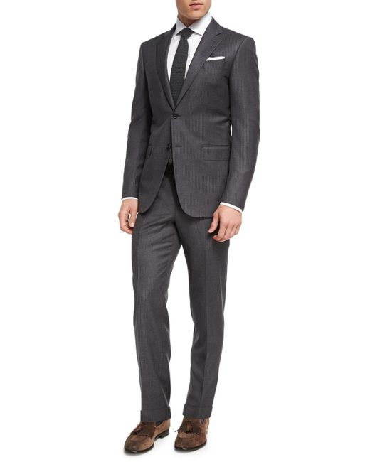 Ermenegildo Zegna Gray Striped Wool Two-piece Suit for men