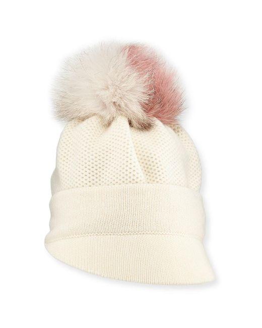 Inverni | White Brimmed Beanie W/ Fur Pompom | Lyst