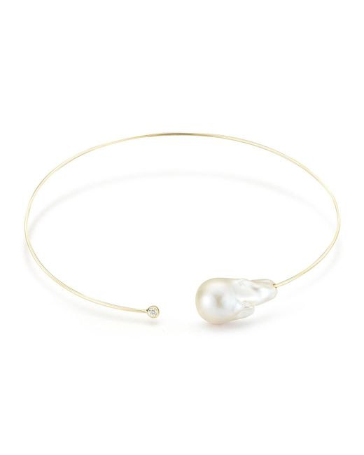 Mizuki - Metallic Baroque Pearl & Single Diamond Collar Necklace - Lyst