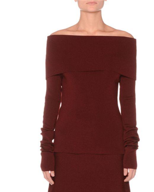 Agnona - Purple Off-the-shoulder Extra Fine Merino Knit Sweater - Lyst