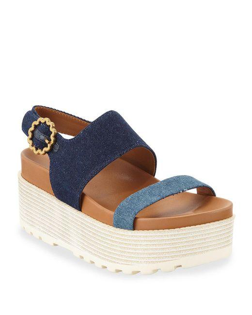 e9631f08017 See By Chloé - Blue Jenna Denim Flatform Sandals - Lyst ...