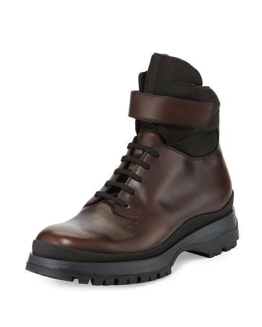 Prada | Brown Calf Leather Lace-up Boot for Men | Lyst