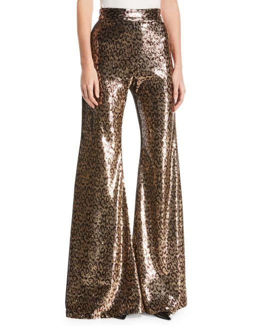 Halpern - Brown Sequined Leopard-print Pants - Lyst