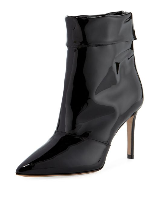Paul Andrew Black Banner 55mm Patent Fold-over Booties