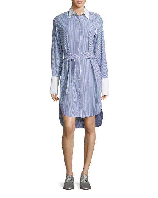 Rag & Bone | Blue Essex Striped Belted Shirtdress With Contrast Trim | Lyst