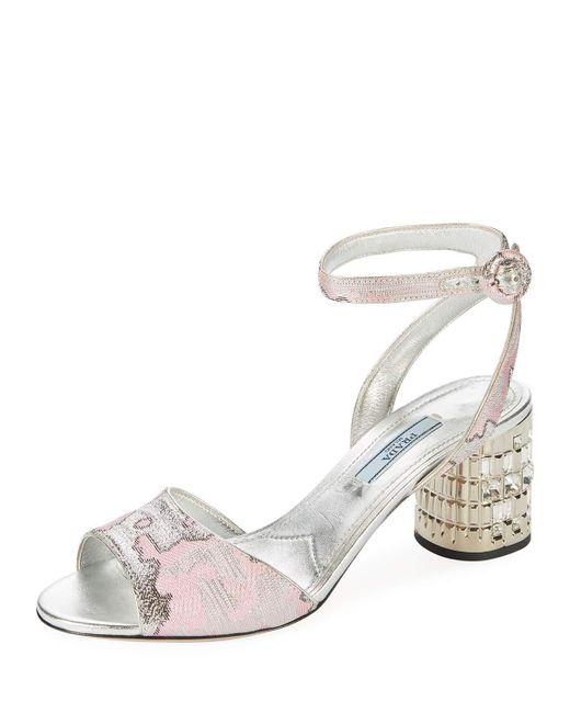 Prada - Pink Metallic Jacquard Ankle-strap Sandal With Jeweled Heel - Lyst