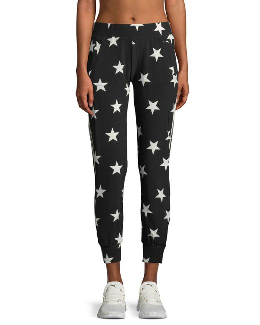 Norma Kamali - Black Star-print Side-stripe Jogger Pants - Lyst