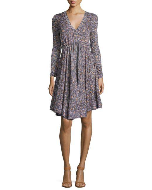 Rebecca Taylor Gray Lavish V-neck Long-sleeve Dress